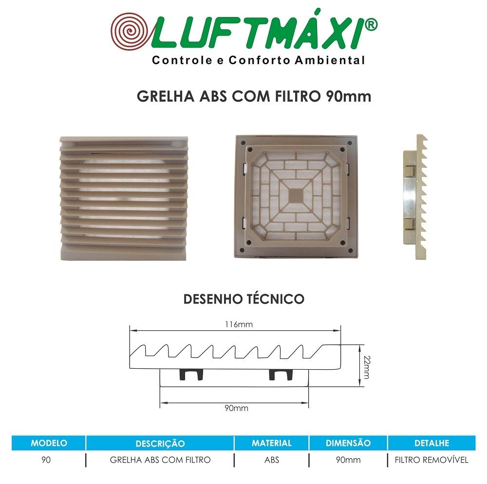 Grelha ABS - 116 x 116 - Com Filtro