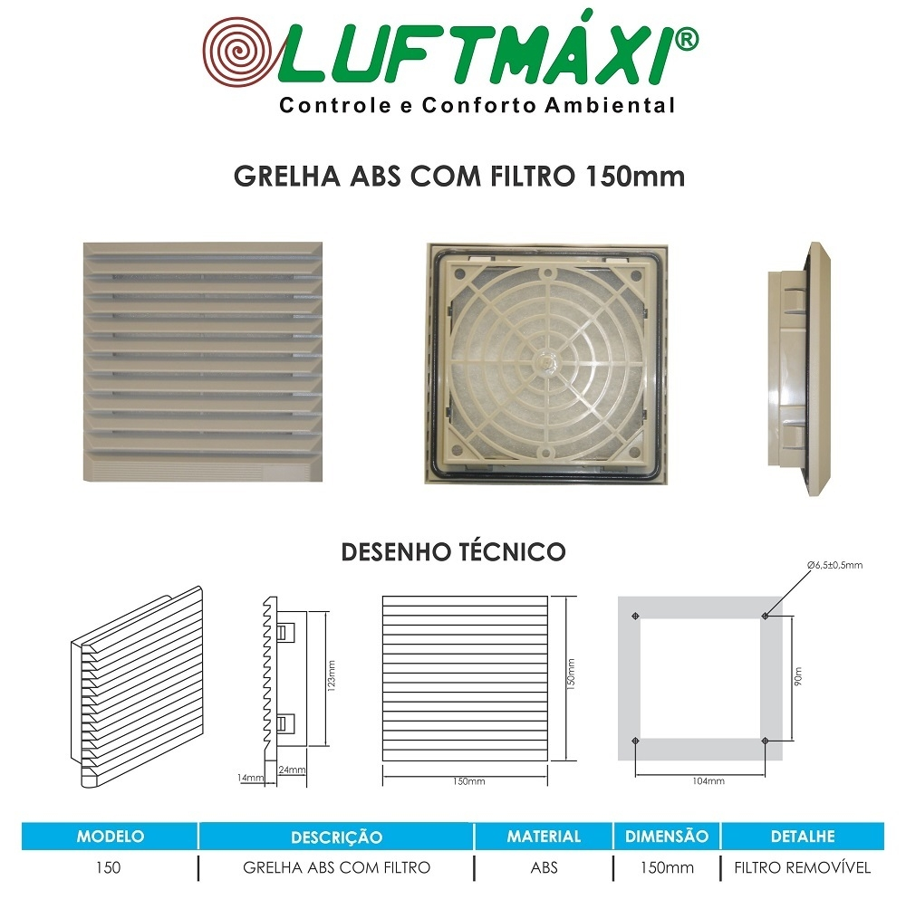 Grelha ABS - 150 x 150 - Com Filtro