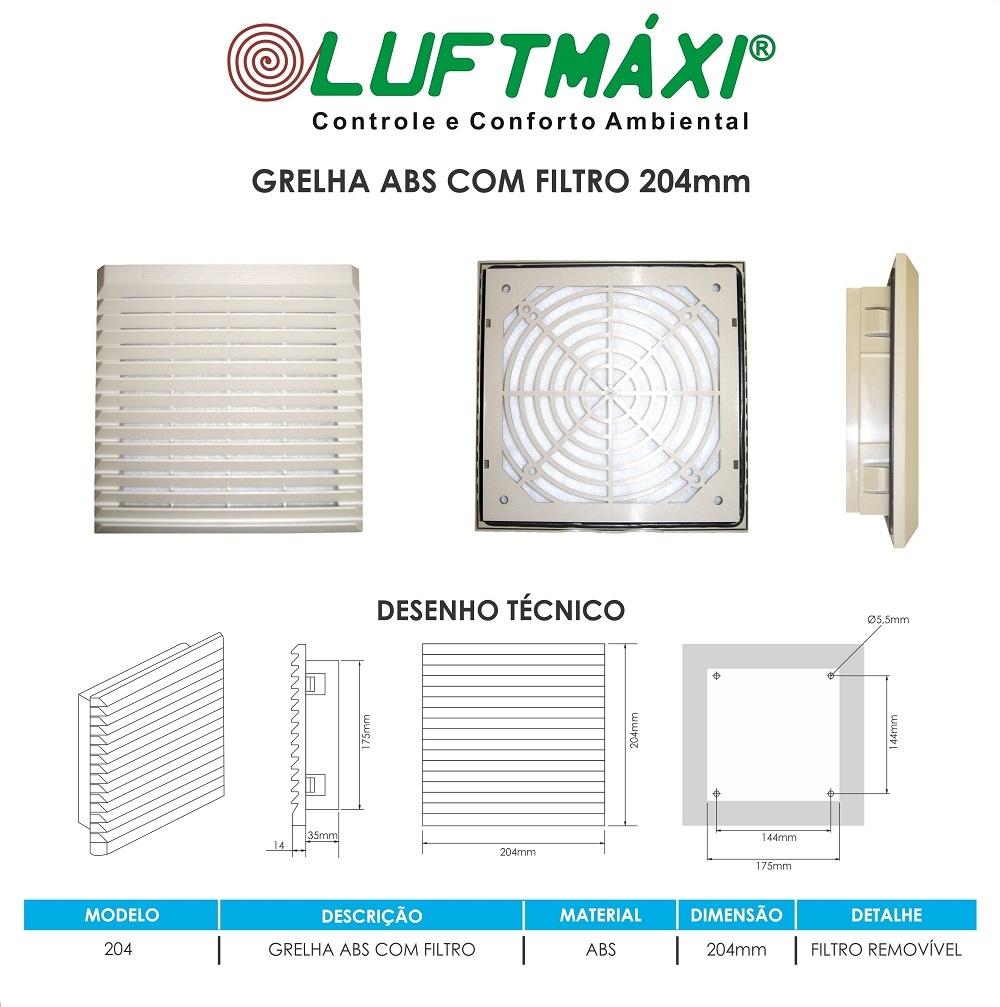 Grelha ABS - 204 x 204 - Com Filtro